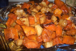 Maple Glazed Butternut Squash with Pears and Cranberries
